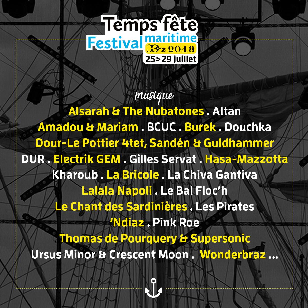 Programmation musicale Temps fête 2018, Douarnenez, festival